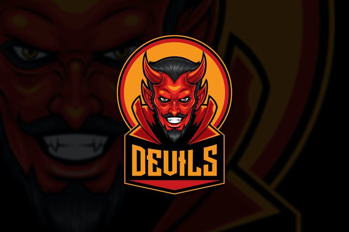Thumbnail for The Red Devil Head Sport Logo Mascot