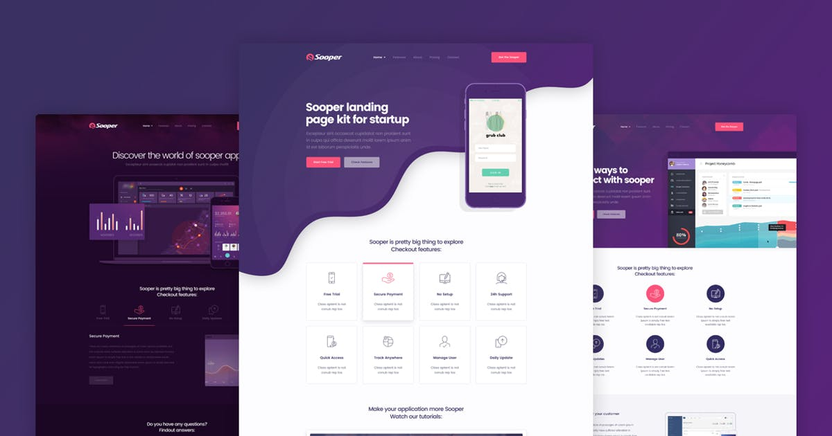 Download Sooper - App & Software Landing Page Template by Layerdrops