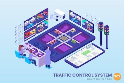 Concepto de sistema de control de tráfico isométrico