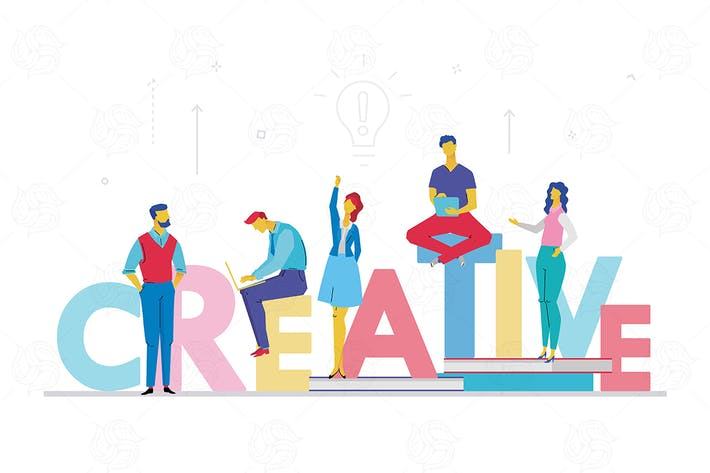 Cover Image For Creative business team - flat illustration
