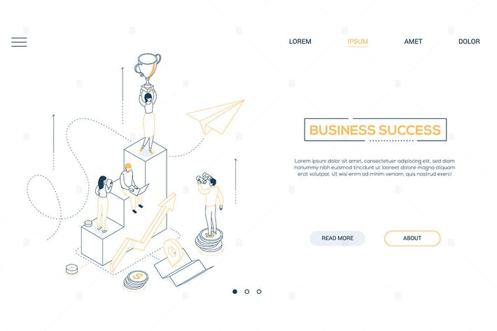 Thumbnail for Business success - line isometric web banner