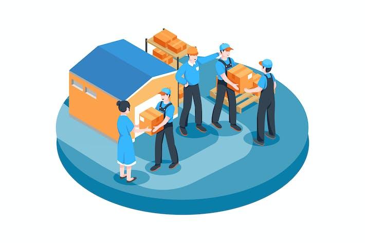 Supply Chain Management vector Illustration