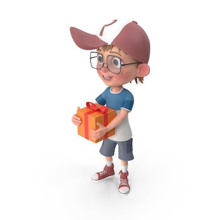 Cartoon Junge mit Geschenk