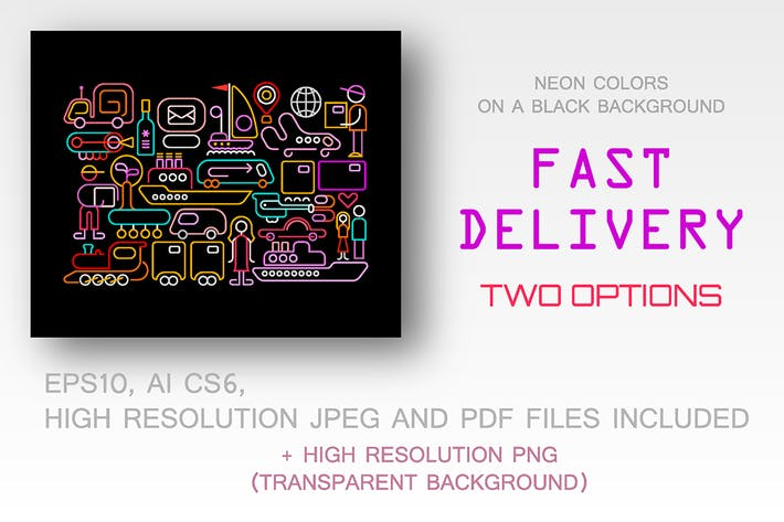 Thumbnail for 2 options of the Fast Delivery vector illustration