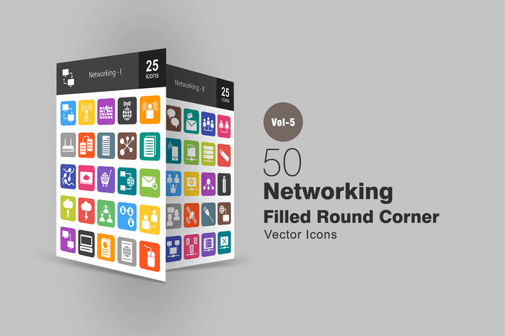 Thumbnail for 50 Networking Flat Round Corner Icons
