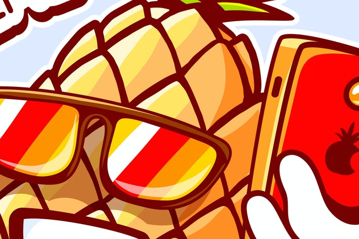 Thumbnail for Collection of funny character pineapples
