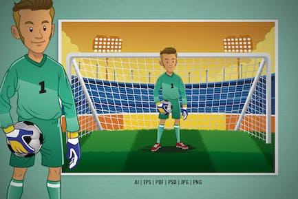 Portero de fútbol de dibujos animados en el estadio de fútbol