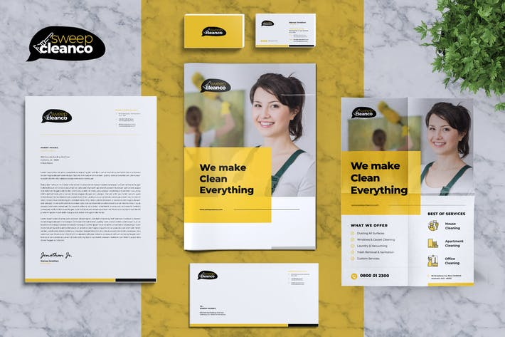 Thumbnail for CleanCo | Cleaning Service Corporate Identity