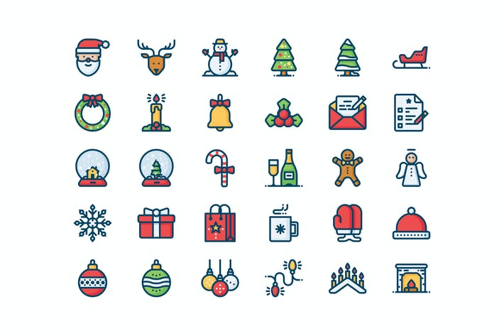 Thumbnail for 30 Christmas and New year icons
