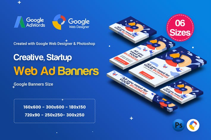 Thumbnail for C60 - Creative, Startup HTML5 Ad - GWD & PSD