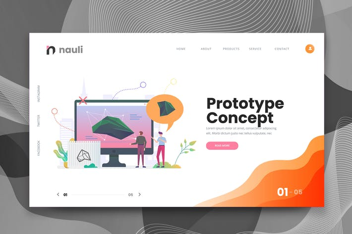 Cover Image For Prototype Concept Web PSD and AI Vector Template