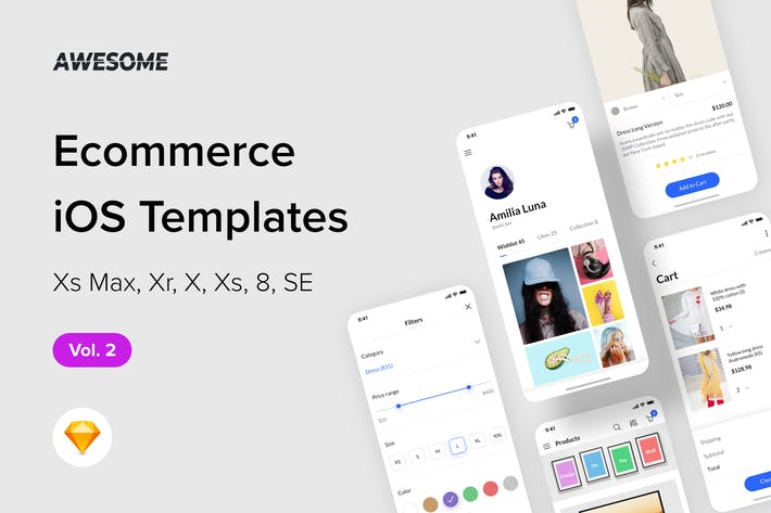 Thumbnail for Awesome iOS UI Kit - Ecommerce Vol. 2 (Sketch)