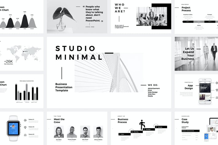 Thumbnail for Studio Minimal Presentation Google Slides Template