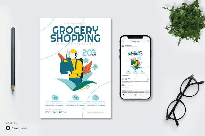 Thumbnail for Grocery Online Delivery v2 - Flyer & Instagram GR