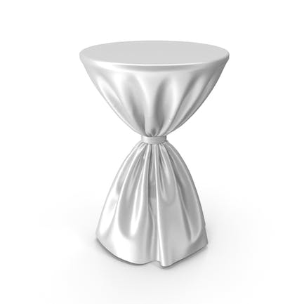 White Silk Tablecloth Cocktail Table