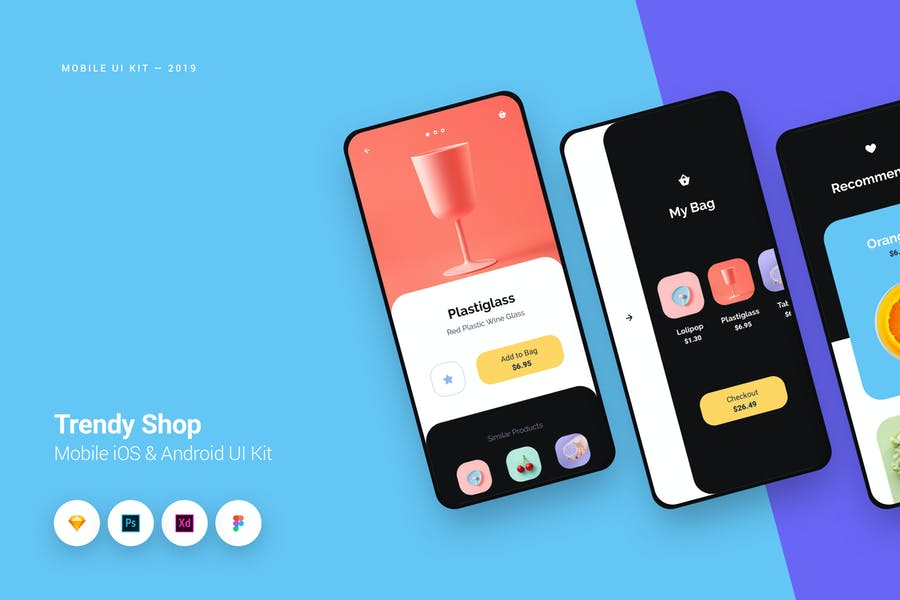 Trendy Shop App iOS & Android UI Kit Template