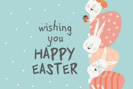 Симпатичный мультфильм кролик с пасхальными яйцами. Вектор иллюзорность