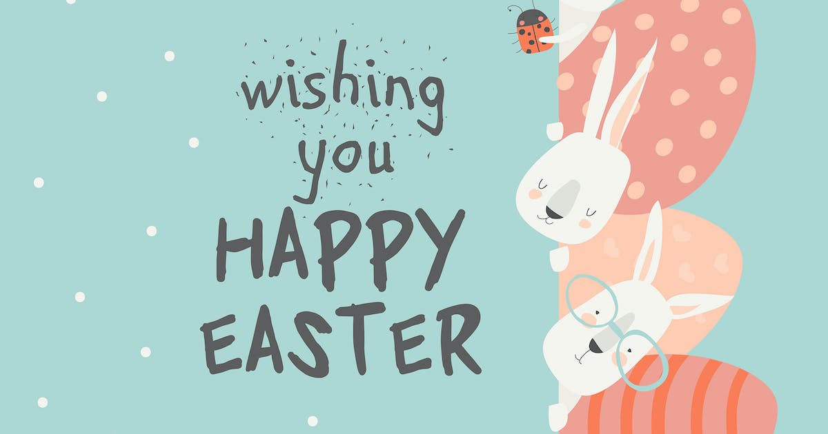 Download Cute cartoon bunny with Easter eggs. Vector illust by masastarus