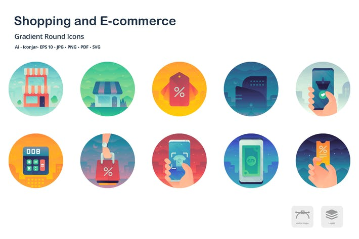 Thumbnail for Shopping and E-commerce Gradient Round Icons
