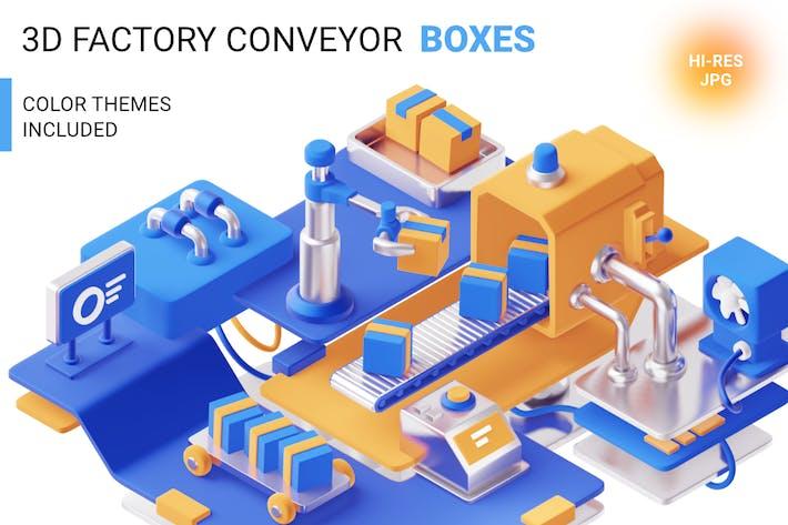 3d-Fabrik mit Kisten