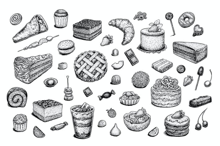 Thumbnail for Set of vector and raster desserts