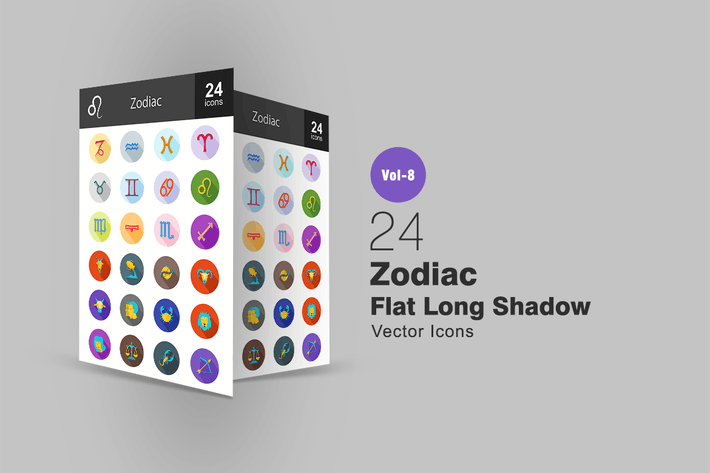 Thumbnail for 24 Zodiac Flat Shadowed Icons