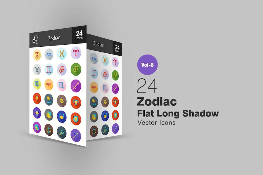 24 Zodiac Flat Shadowed Icons