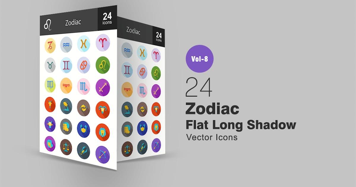 Download 24 Zodiac Flat Shadowed Icons by IconBunny