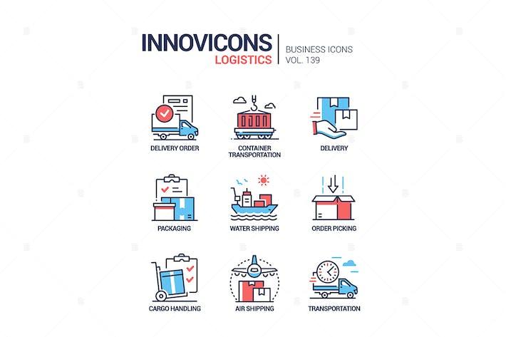 Thumbnail for Logistics - colorful line design style icons set