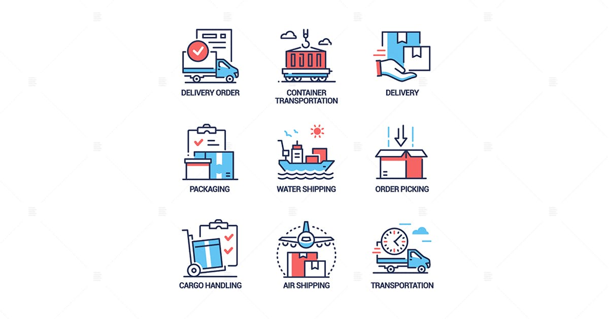 Download Logistics - colorful line design style icons set by BoykoPictures