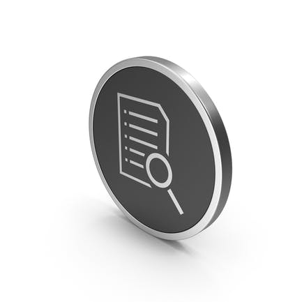 Silver Icon Document With Magnifying Glass