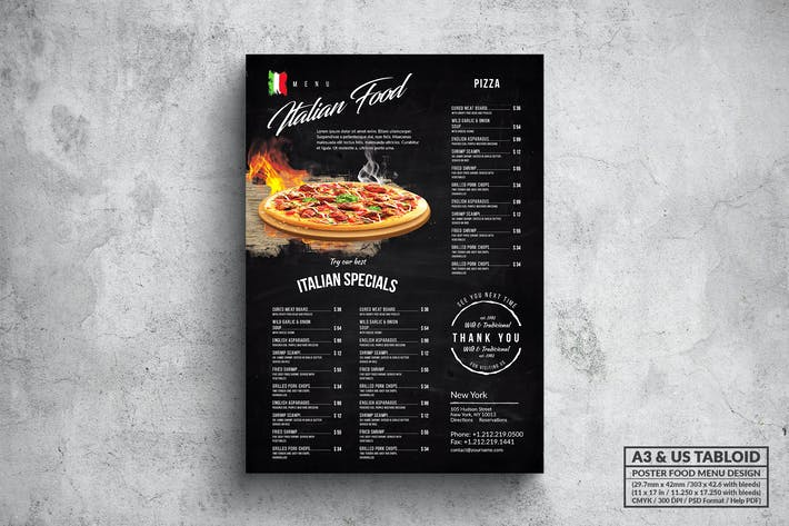 Thumbnail for Elegant Pizza Poster Food Menu - A3 & US Tabloid
