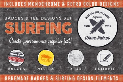 Vintage Surfing Badges & Tee Designs / Summer Logo