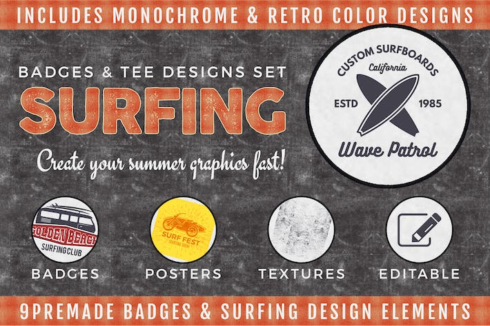 Thumbnail for Badges & Tee Designs de Surf Vintage/Logo Summer