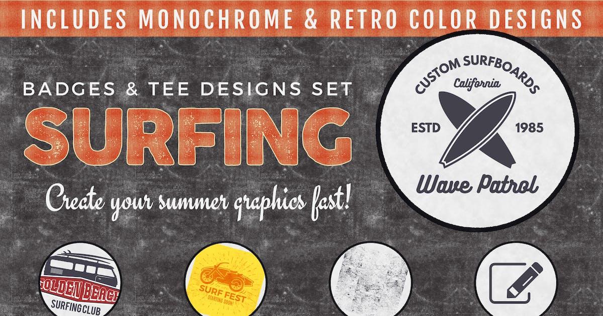 Download Vintage Surfing Badges & Tee Designs / Summer Logo by JeksonJS