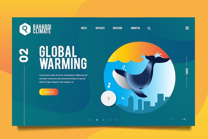 Thumbnail for Global Warming Web Header PSD & Vector Temp Vol.01