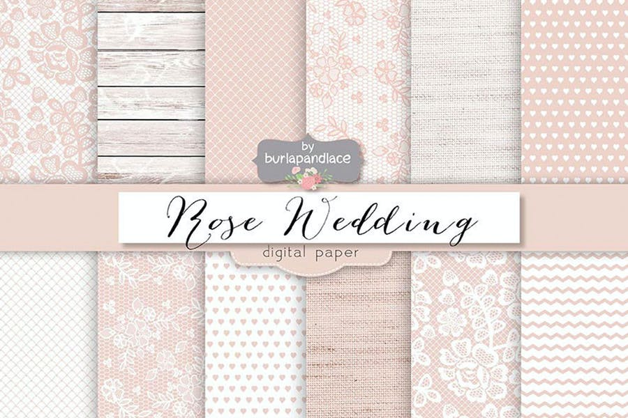 Rose pale wedding digital paper pack
