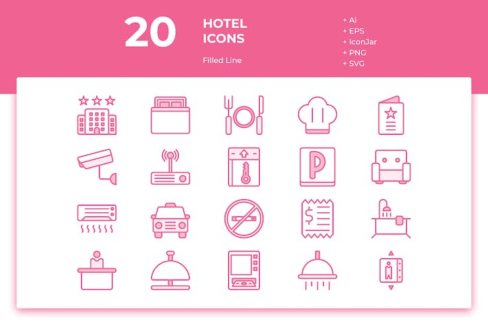 Thumbnail for 20 Hotel Icons (Filled Line)