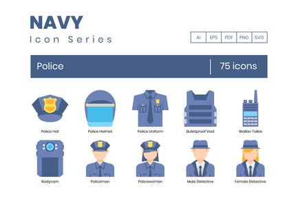 75 Police Flat Icons