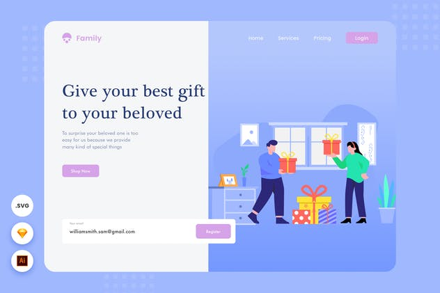 Gift to Your Beloved - Website Header illustration