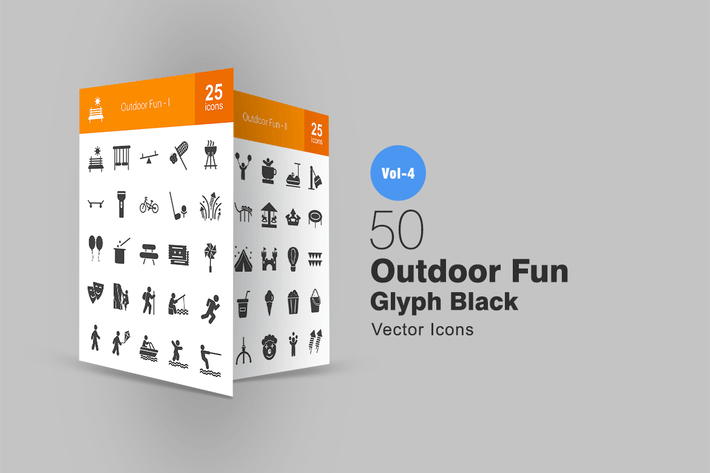Thumbnail for 50 Outdoor Fun Glyph Icons