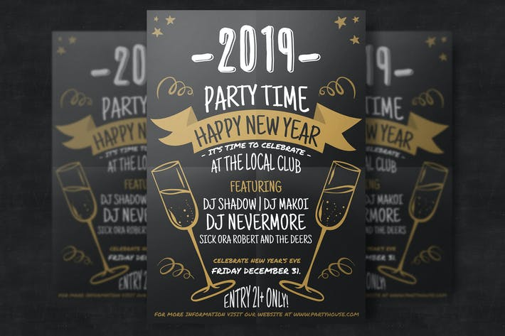 Thumbnail for Hand-Drawn New Year Flyer Template