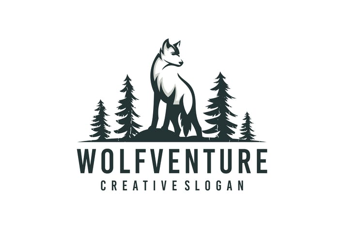 Wolf Silhouette Logo Template