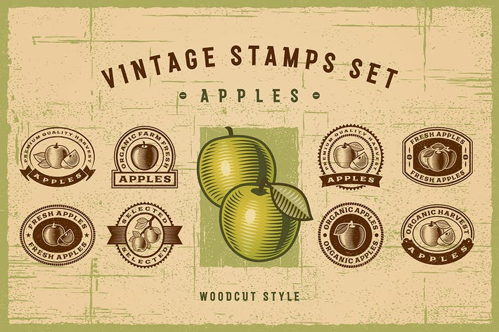 Thumbnail for Vintage Apple Stamps Set