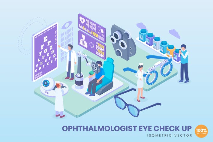 Thumbnail for Isometric Ophthalmologist Eye Check Up Concept