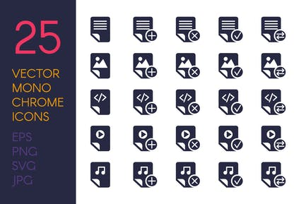 Monochrome Files Icons Set