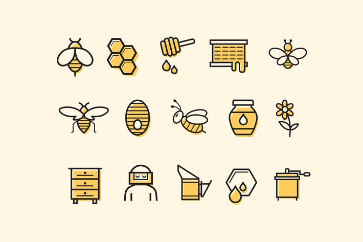 Thumbnail for 15 Bee and Honey Icons