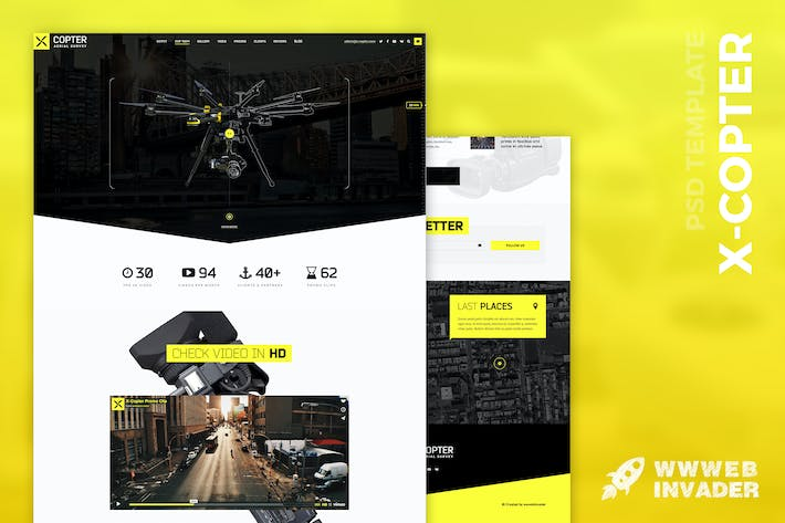 Cover Image For X-Copter - Best Photo & Video Company PSD Template