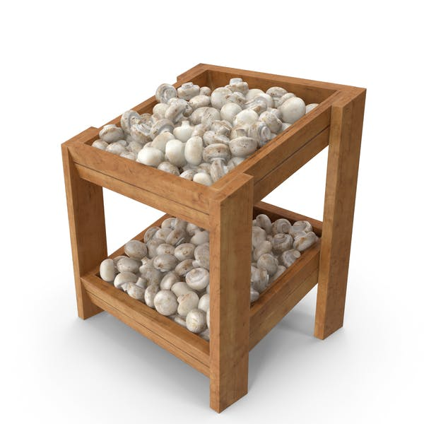 Wooden Merchandise Shelf with White Button Mushrooms