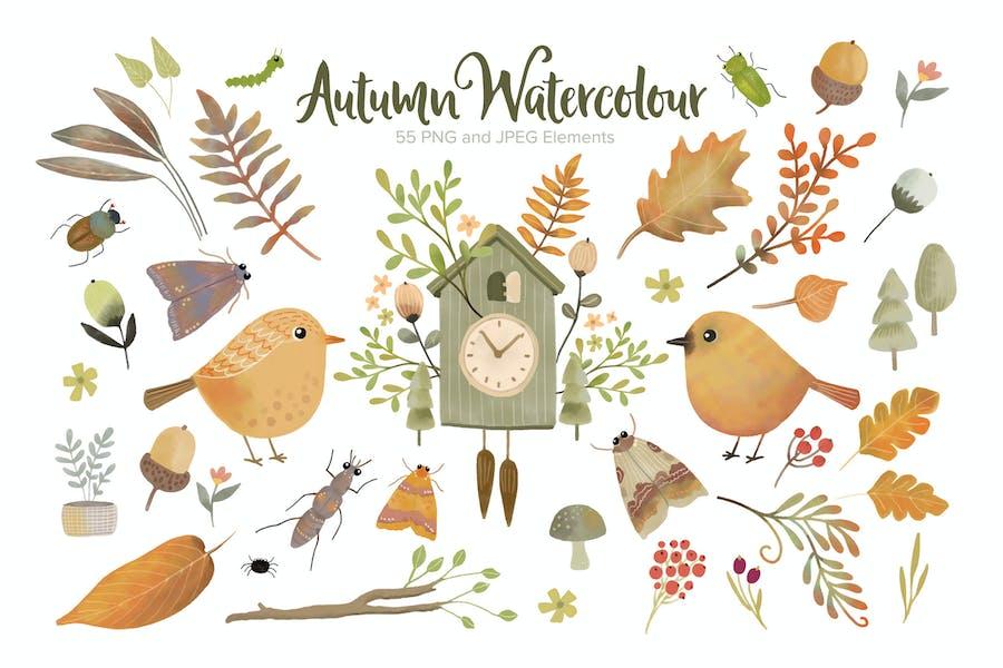 Autumn Watercolour Elements